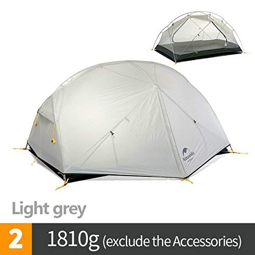 Mdsfe Naturehike Mongar 2 Person Tourist Tent Waterproof 15D Nylon Fabric Camping Tent Ultralight Aluminum Alloy Large Space With Mat-Lihgt Gray,A1