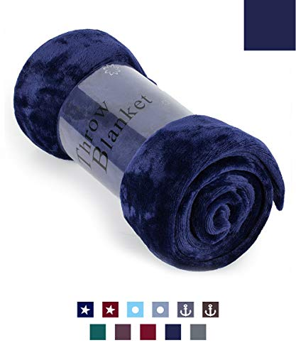 "HAOK Soft Warm Navy Plush Throw Blanket for Couch – Comfortable Lightweight Fleece Travel Blanket 50"" x 60"""