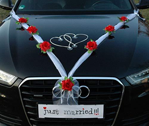 Organza M e gioielli per auto a forma di cuore, ornamenti per auto decorazione rosa, auto per matrimoni, rosso / bianco