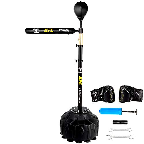 Happybuy Boxing Speed Trainer, Punching Bag Spinning Bar, Training Boxing Ball with Reflex Bar & Gloves, Solid Speed Punching Bag Free Standing, Adjustable Height, for Adult&Kid, with A Ball