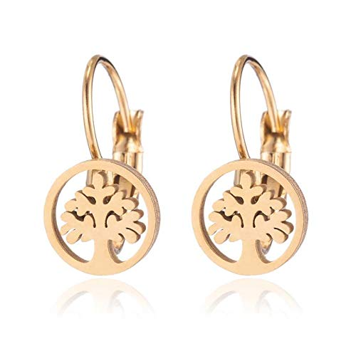 Vintage Gold Hoop Earrings Retro Tree Of Life Stainless Steel Earrings For Women Everyday Jewelry Friend Gift