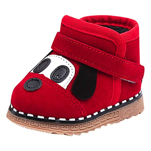 Snakell Mädchen Winterschuhe, Kinder Wärme Gefütterte Schneestiefel Baby rutschfest Stiefel Kleinkindschuhe Weichsohlen Cartoon Welpe Boots Kinderstiefel aus Lammfell und Wild-Leder Stiefel