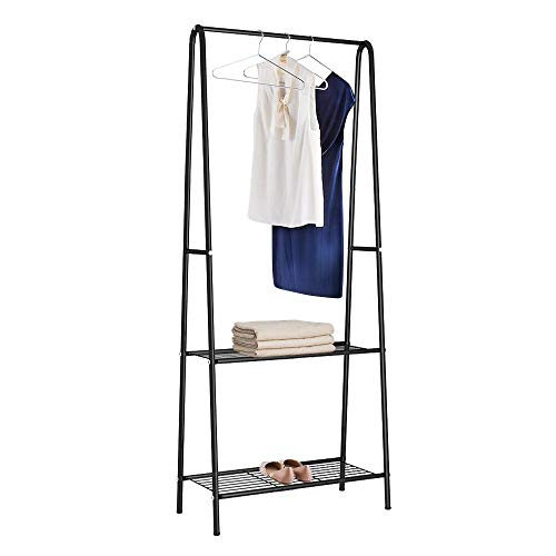 Homebi Garment Rack Metal Clothing Rack Wardrobe Closet Laundry Shelving Unit Entryway Organizer with Hanger and 2-Tier Durable Shelf for Shoes Clothes Storage,Black