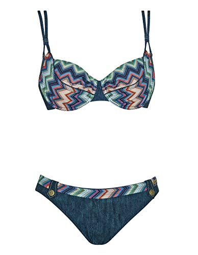 Sunflair 21096-3099 Women's New Missy Night Blue Multicolour Aztec Underwired Bikini Set 42 - D Cup