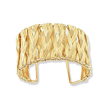 Bracelets Gold Plated Open Cuff Bangles Gift Choice for Women & Girls Fashion  Woven Style