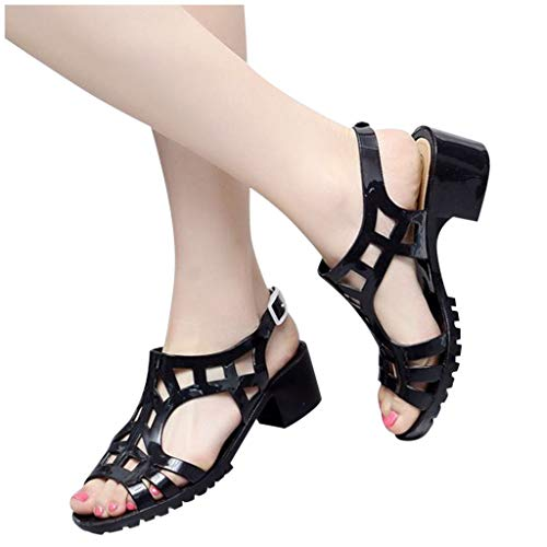 Lowest Price! Xinantime Womens Peep Toe Hoof Heels Elegant Buckles Casual Hallow Summer Beatch Sanda...