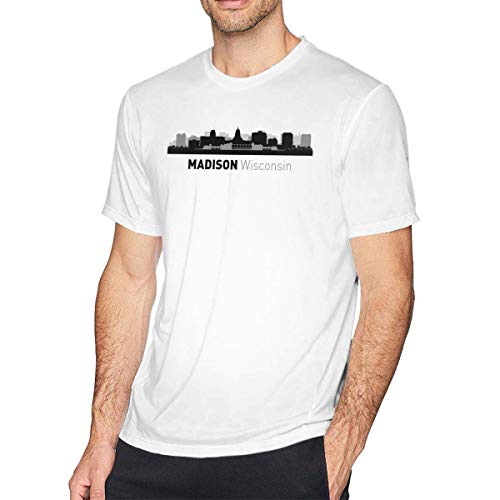 shenguang Camiseta de algodón de Manga Corta para Hombre Madison Wisconsin Cities of USA