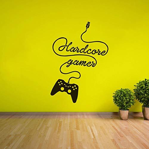 Lznxzq Hardcore Gamer Adesivo De Parede Gaming Joystick Decalque Em Parede Adolescente Kids Room Decor Jogos De Computador Removível Mural Mural