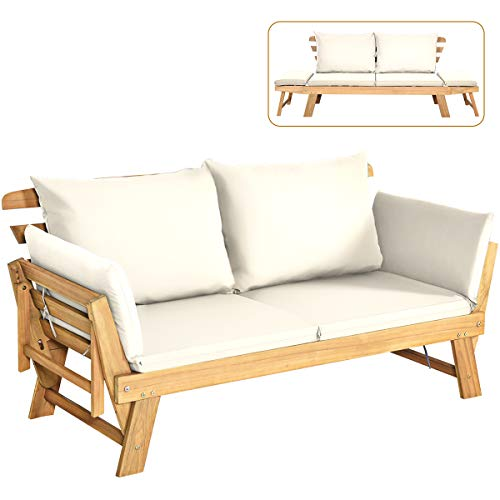 Tangkula Acacia Wood Patio Convertible Couch Sofa Bed with Adjustable Armrest, Outdoor Daybed with Cushion & Pillow, Folding Chaise Lounge Bench Ideal for Porch Courtyard Poolside (White)