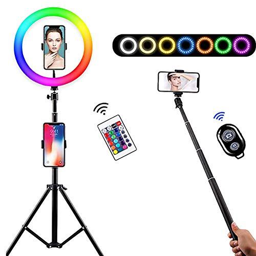 Luz De Anillo LED con Soportes De Trípode Ajustables Y 2 Titulares De Teléfonos, Obturador Remoto De Cámara, 10 Nivel De Brillo, Compatible con iOS Y Android,12 Inch