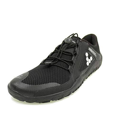 VIVOBAREFOOT Primus Trail Fg Mens, Recycled Breathable Mesh Off-Road Shoe with Barefoot Firm Ground Sole Charcoal Black