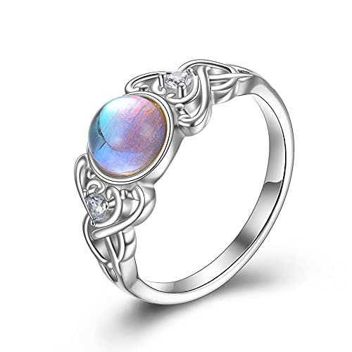 POPLYKE Moonstone Vintage Ring Jewelry for Women Sterling Silver Celtic Wiccan Birthstone Rings Gifts for Girls Friend (8)