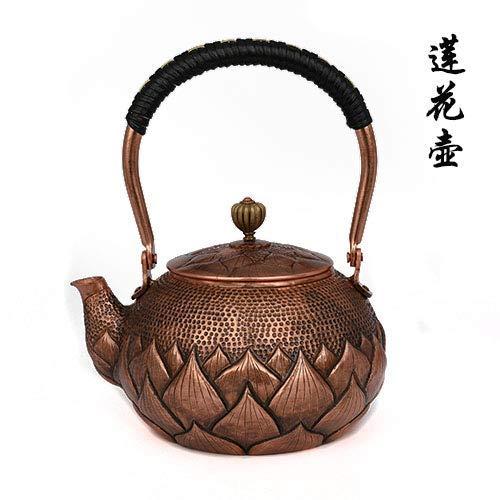 Tetera de cobre de cobre y cobre puro, hecha a mano, estilo retro, de cobre antiguo, tetera de cobre antiguo, tetera de cobre antiguo, tetera de 1000 ml, maceta de loto (color: maceta de loto)