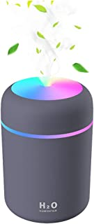 Baeskii Portable Mini Humidifier, 300ml USB Personal Desktop Humidifier with 7-Color LED Night Light, Auto-Off, Ultra-Quie...