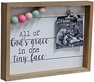 Paris Loft All of God's Grace in One Tiny Face Freestanding Wood Frame Decorative Sign Wall Decor Wood Picture Frames with Metal Clips and Colorful Wood Beads 12x1.5x8.8''