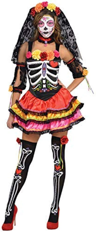 Fancy Me Damen Sexy Senorita Tag der Morti Skelett 5 Stück Halloween Karneval Kostüm UK 818