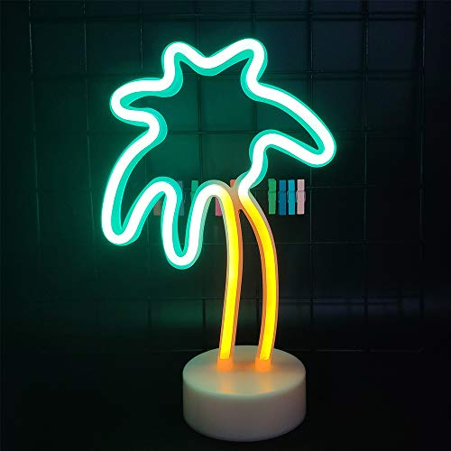 ENUOLI Palm Tree Neon Light Neon Night Light Lights with Holder Base Coconut Palm Tree Neon Decor Lights Decorative Marquee Signs Light Battery/USB Operated Light for Bedroom Christmas Birthday Party