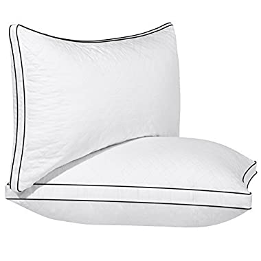 SONGMICS Pillow for Sleeping (Standard/2 Pack), Adjustable Bed Pillow, Relief for Neck Pain, 100% Cottons Super Soft & Goose Down Alternative, Hypoallergenic & Dust Mite Resistant URBP02WC