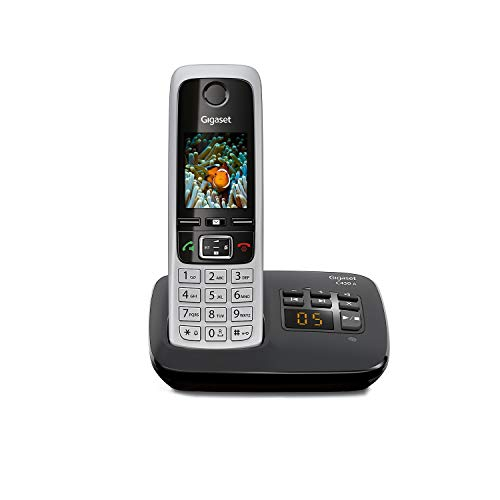 Gigaset C430A Schnurloses Telefon mit Anrufbeantworter (DECT Telefon mit Freisprechfunktion, klassisches Mobilteil mit TFT-Farbdisplay) schwarz-silber