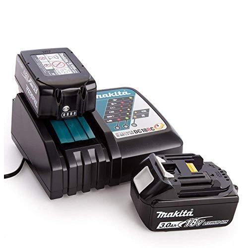 Makita BL1830B Cargador de batería rápido de 18 V LXT 3,0 Ah, paquete doble DC18RC, 18 V
