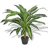 LINWXONGQP Color de la Planta: Verde y Amarillo Planta de drácena Artificial con Maceta 90 cm Verde