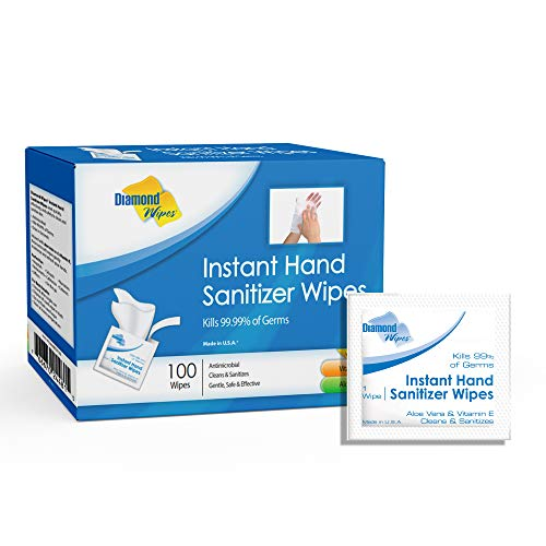 "Diamond Wipes Instant Hand Sanitizer Alcohol Wipes 65% Ethyl Alcohol Box Of 100ct 5.5x5"" Individually Wrapped Packets Made with Vitamin E and Aloe Vera Perfect For Travel And On The Go Activities"