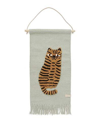 OYOY Mini - Wandteppich Tiger - Kinderzimmer Wanddeko für Jungen und Mädchen - Wolle-Baumwolle-Mix - 70x32 cm