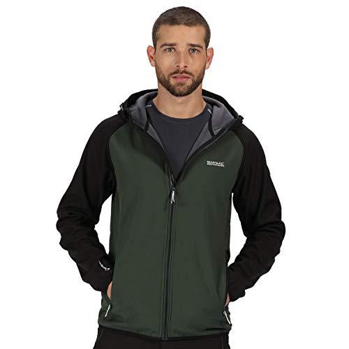 Regatta Arec II Wasser- und Winddichte Softshell-Jacke mit Reißverschlusstaschen Dpforest/Blk XL