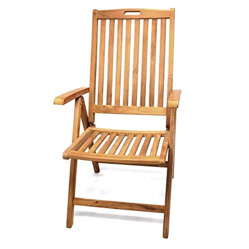 DIVERO GL05005 Gartenstuhl Hochlehner Klappstuhl Teakstuhl Teak Holz Stuhl mit Armlehne 5-fach verstellbar für Terrasse Balkon Wintergarten witterungsbeständig behandelt massiv klappbar natur