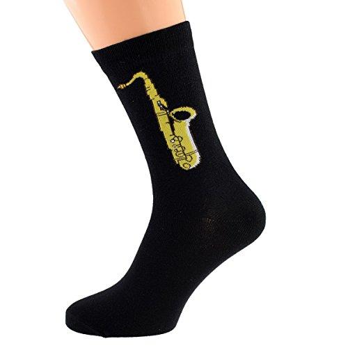 Anteil Paar Baumwolle, Saxofon-Design (5-12 UK) (X6S019)
