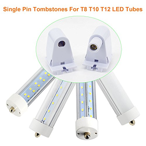 (12-Pairs) JESLED Single Pin FA8 Tombstone - Non-Shunted T8/T10/T12 LED Socket Lampholder Base Holder for 8FT Fluorescent Tube Light, Retrofiting Bulbs Fixtures, Flameresistant Plunger, UL Listed