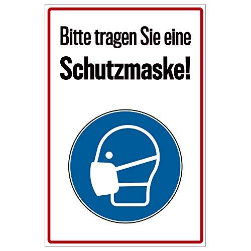Hinweis-Schild 20x30 cm - Bitte Maske tragen als Vorsichtsmaßnahme vor dem Corona-Virus (COVID-19), Warnschild aus PVC Hartschaum Platte 200x300 mm - 3 mm stark
