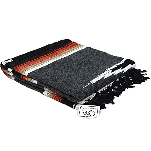 Charcoal Black Mexican Yoga Blanket -- Thick Navajo Diamond with Vintage Retro Serape Red Tan Brown and White Stripes