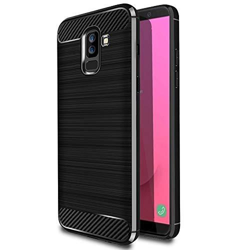 MyCase Funda Antideslizante para Samsung Galaxy J8 (2018)   Negro Caucho Suave Elegante