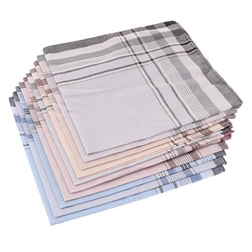 Sharplace 10pcs Mouchoirs pour Homme 100% Coton Taille 38 x 38 cm