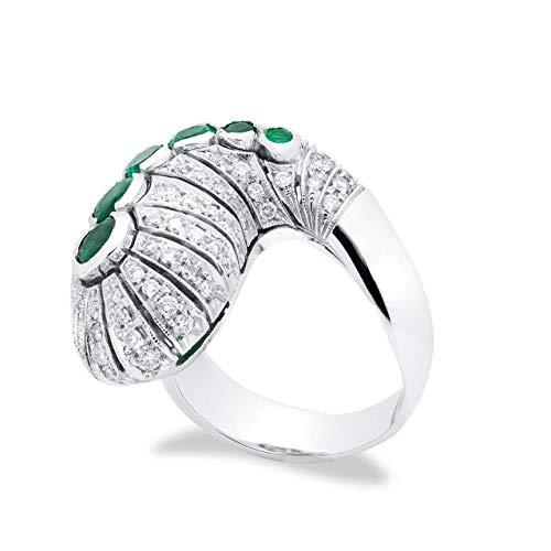 B.&C. Gioielli Anillo de mujer serpiente totalmente hecho a mano de oro blanco, esmeraldas colombianas y diamantes VVS