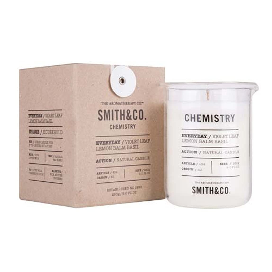 ぼんやりした漏れ性差別Smith&Co. Chemistry Candle ケミストリーキャンドル Violet Leaf Lemon Barm Basil