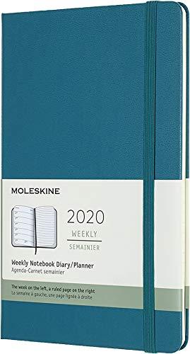Moleskine - Agenda Semanal de 12 Meses 2020, Tapa Dura y Goma Elástica, Color Verde Magnético, Tamaño Grande 13 x 21 cm, 144 Páginas (AGENDA 12 MOIS)