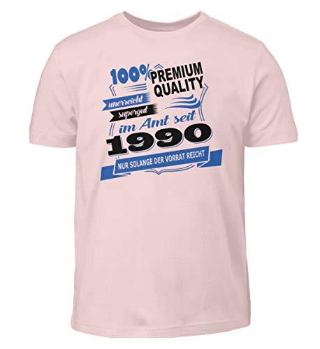 Camiseta de diseño para niños con texto en alemán 'Geburtstaggeschebk für allen nacieron en 1990 Rosa Sixties 134/146 cm