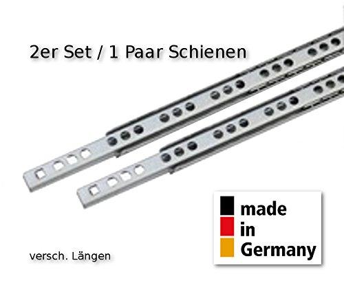 2 Stück (1Satz) Schubladenschienen Teilauszug Rollenauszug Teleskopschiene Kugelführung L 438 | 430 mm Nut 17 mm - LIVINDO