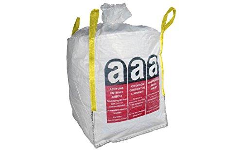 Colorus BigBag Asbest Sack 90 x 90 x 110 cm | Entsorgungs-Sack bis 1000 kg belastbar | Gewebesack mit Schürze und Verschlussband | 4 Hebeschlaufen, UV beständig | BigBag aus PP Bändchengewebe