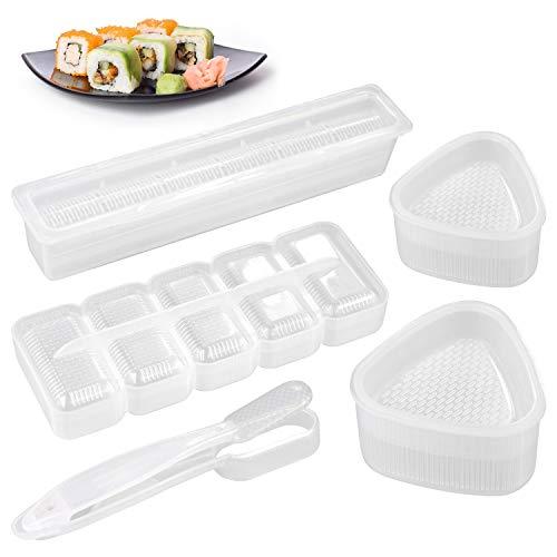 stampi per sushi Jinhuaxin 5pcs Sushi Maker Kit Onigiri Sushi Shape Set Sushi Tool Baby Kids Bento DIY Onigiri Shape Mold Cutters