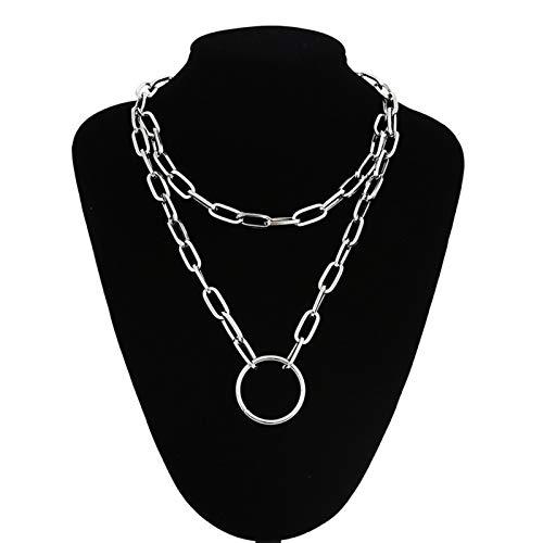 Collar De Cadena De Bloqueo con Colgantes De Candado para Mujeres Joyas De Hombres En El Cuello Accesorios (Metal Color : Gold Color)