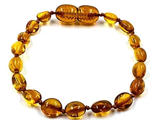 Pulsera / tobillo de ámbar báltico natural – Perlas de ámbar auténtico hechas a mano – anudadas entre perlas 14 cm (Cognac)