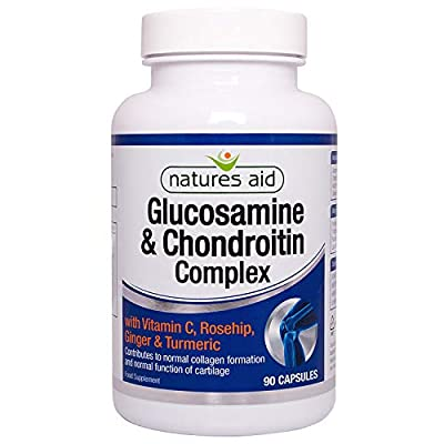 Natures Aid Glucosamine and Chondroitin Complex with Rosehip, Ginger, Turmeric and Vitamin C, 90 Capsules