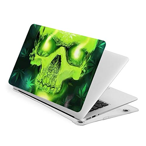 Laptop Case for MacBook, Fluorescent Skull Tobacco and Hemp Leaves Laptop Computer Hard Shell Cases Cover (new air13 / air13 / Pro13 / Pro15)