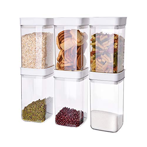 Ambergron Airtight Food Storage Containers with Lids 6 Pcs Set 105-qt Each Stackable Food Container for Pantry Kitchen Countertop with Label and Pen BPA-free Clear