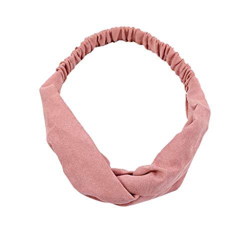 Diadema de terciopelo Aiserkly para mujer, color puro, pajarita para correr con ala ancha, para lavar la cara, color rojo, Primavera-Verano, Mujer, color rosa, tamaño Talla única