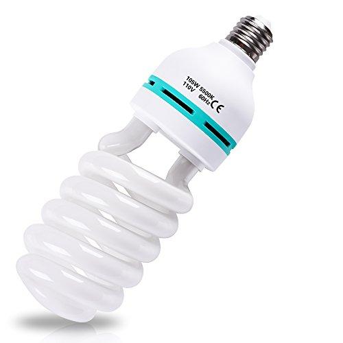 Emart Full Spectrum Light Bulb, 2 x 105W 5500K CFL Daylight for Photography Photo Video Studio Lighting