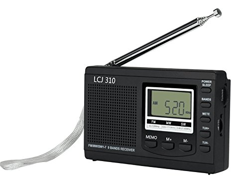 LCJ Portable Digital Shortwave Radio Receiver and FM AM Radio with World Band Transistor (Black)